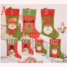 100pcs/lot monogram personalized canvas Christmas stocking mixed colors wholesale Christmas tree decoration socks stocking