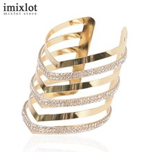 Imixlot Hollow Design Big Bracelets Crystal Statement Jewelry Fashion Open Cuff Bangles Bracelets For Women Wrap Hand Bijoux