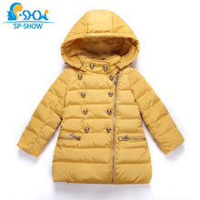 SP-SHOW Children Winter Outwear Hooded Luxury Girls Long Thickened Snowsuit New Children Jacket Coat For 4-8 Age Girl 76015(China)
