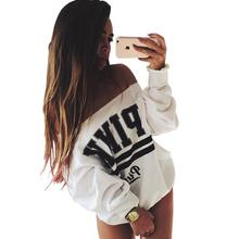 2018 Fashion Women Tops Brand Hoodies Pink Letter Print Sweatshirt Knitted Long Sleeve Pullovers Polerones Mujer Harajuku Shirt(China)