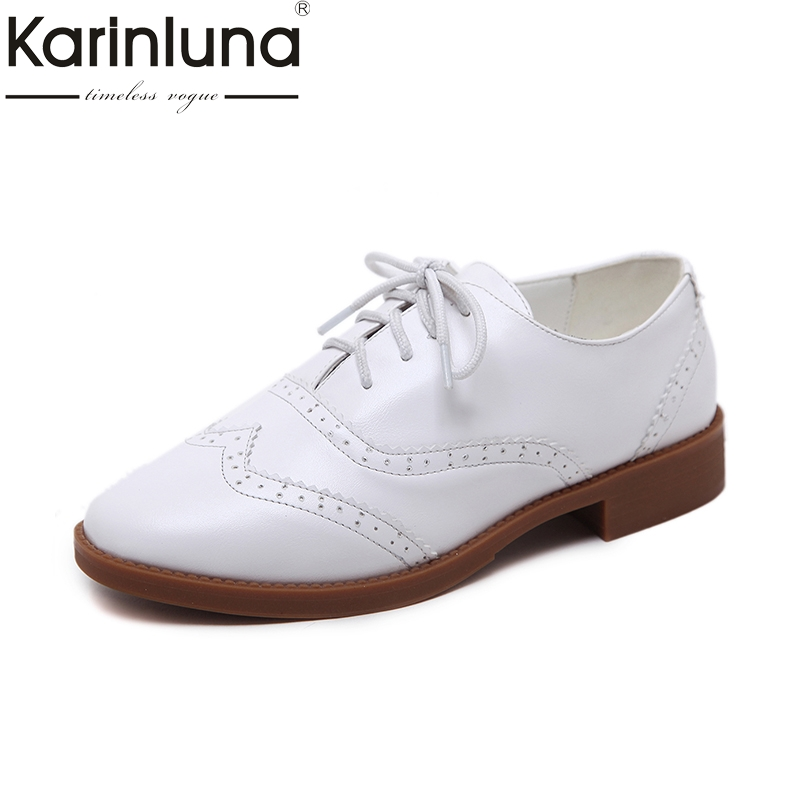KarinLuna Wholesale Retro Size 34-40 Lace Up Brouge Shoes Women Black White Casual Comfortable Spring Leisure Shoes Woman<br>