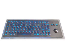 89 keys back light metal keyboard with trackball, backlighted metal keyboard with numeric key, blue color LED backlit keyboard