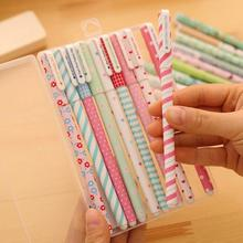 10 Piece 10 Colors Korean Stationery Cute Fresh Pen Advertising Creative Bent School Office Gel Pens Girl