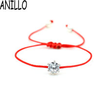 ANILLO Women Red Rope Thread String Bracelet Silver Color AAA Cubic Zirconia Lucky Braided Charms Adjustable Bracelet(China)