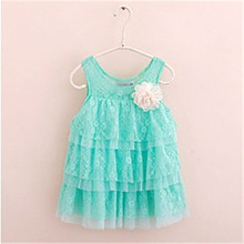 New 2017 Infant Baby Girls Lace Dresses Children Clothing Autumn Summer Kids Princess Flower Tutu Dress(China)