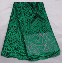 Green Afircan Lace Fabric 2017 Best quality Cheap Price Sell Well Beautiful French Tulle Lace Fabric 5 Yards Lace Trim GD976C-9