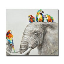 Elephant picture fine wall art oil painting of parrot good quality cheap free shipping canvas decoration for home