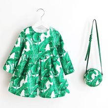 Long Sleeve Dress Girl Christmas Dress 2016 Autumn Winter Floral Print Toddler Girl Dresses Kids Clothes Children Dress with Bag