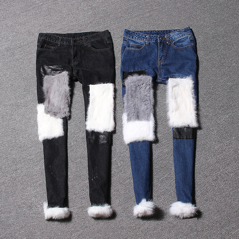 European Fashion Women s 2016 Autumn and Winter New  Pencil Jeans Pants Personality Collage Rabbit Fur Hit Color Slim JeansОдежда и ак�е��уары<br><br><br>Aliexpress