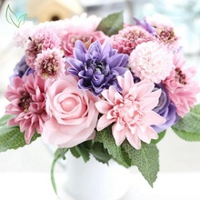 Silk flower wedding bouquet roses dahlias artificial flowers autumn vivid fake leaf wedding flowers bouquets for home decoration(China)