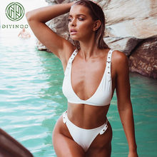 0d4c7e5504 DIYINOO 2018 Summer New Fashion Sexy V-Neck Beach Bikini Solid Red/Black/ White/Army green Women's Two-piece Sets Suits