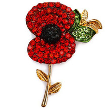 Hot Sales 2017 Hot Sale High Quality Crystal Brooch Red Crystal Poppy  Alloy Brooch With Elements Hot Sales