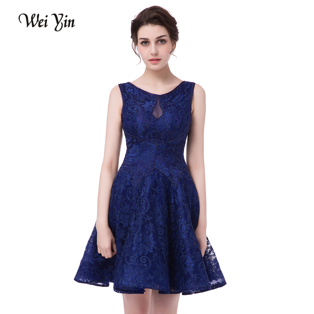 WeiYin  Cocktail Dresses 2018 New SSYFashion Bride Married Banquet Royal Blue Lace Short Prom Dress Plus Size Party Formal Dress