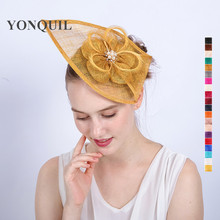NEW ARRIVAL design 20colors kentucky sinamay fascinators Gold feather derby Occasion church hats women bridal wedding headpieces(China)