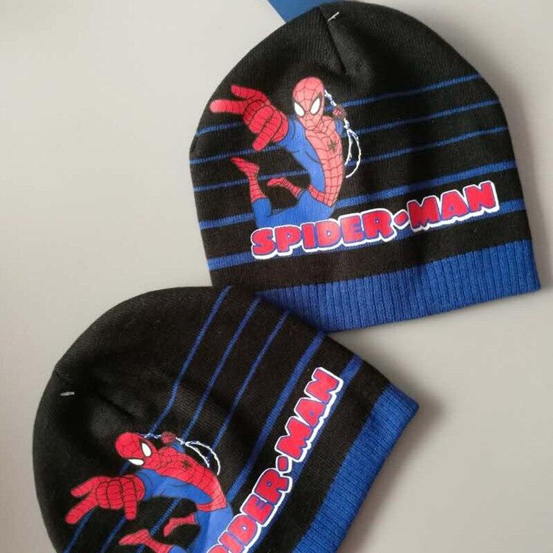 2017 New Autumn And Winter Boys Hat Set Cartoon Spider-Man Warm Hat Knitting Hat Childrens Elasticity Hat Одежда и ак�е��уары<br><br><br>Aliexpress