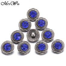10pcs/lot Mrs Win Snap Jewelry Rhinestone 12mm snap with zinc alloy buttons bottom for mini metal snap bracelets