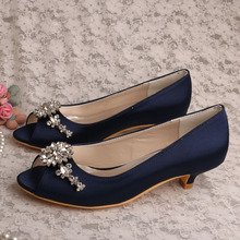 (21 Colors) Wedopus Low Heel Peep toe Navy Blue Satin Bridal Prom Shoes Pumps Plus Size 42(China)