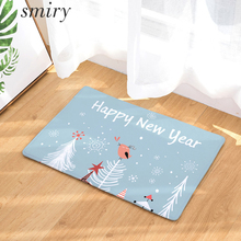 Smiry New Year Minimalism Christmas Anti-Slip Front Door Mat Cartoon Aniamls Santa Claus Snowman Firework Carpet Snowflake Rugs(China)