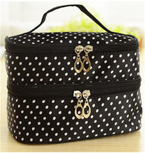 Black Double layer small dots cosmetic bag  makeup tool storage bag  multifunctional Storage package  free shipping  S385-5