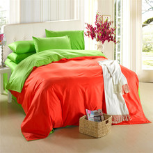 4pcs/set 100% Natural Cotton Family Set of Bed Linen orange, green double color queen king duvet cover set pink sheets bedding