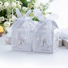 10Pcs/Pack Candy Box Wedding Favors Boxes With Ribbon Gifts For Guests Birthday Party Events Decoration Supplies #87941