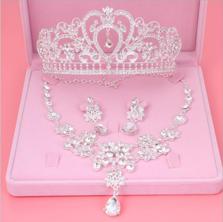 Womens Crystal Pearl Jewelry Hair Crown Headpiece Necklace Pendant Earrings Sets (9)