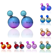 Fashion 1 Pair Women Hot Big Ball Double Sided Earrings Imitation Pearl Ear Studs 9 Colors