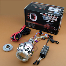 Motorcycle Parts 2.5 inch HID Bi xenon Retrofit Headlight Projector Lens Light Kit With CCFL Double Angel Eyes Halo H4 H7