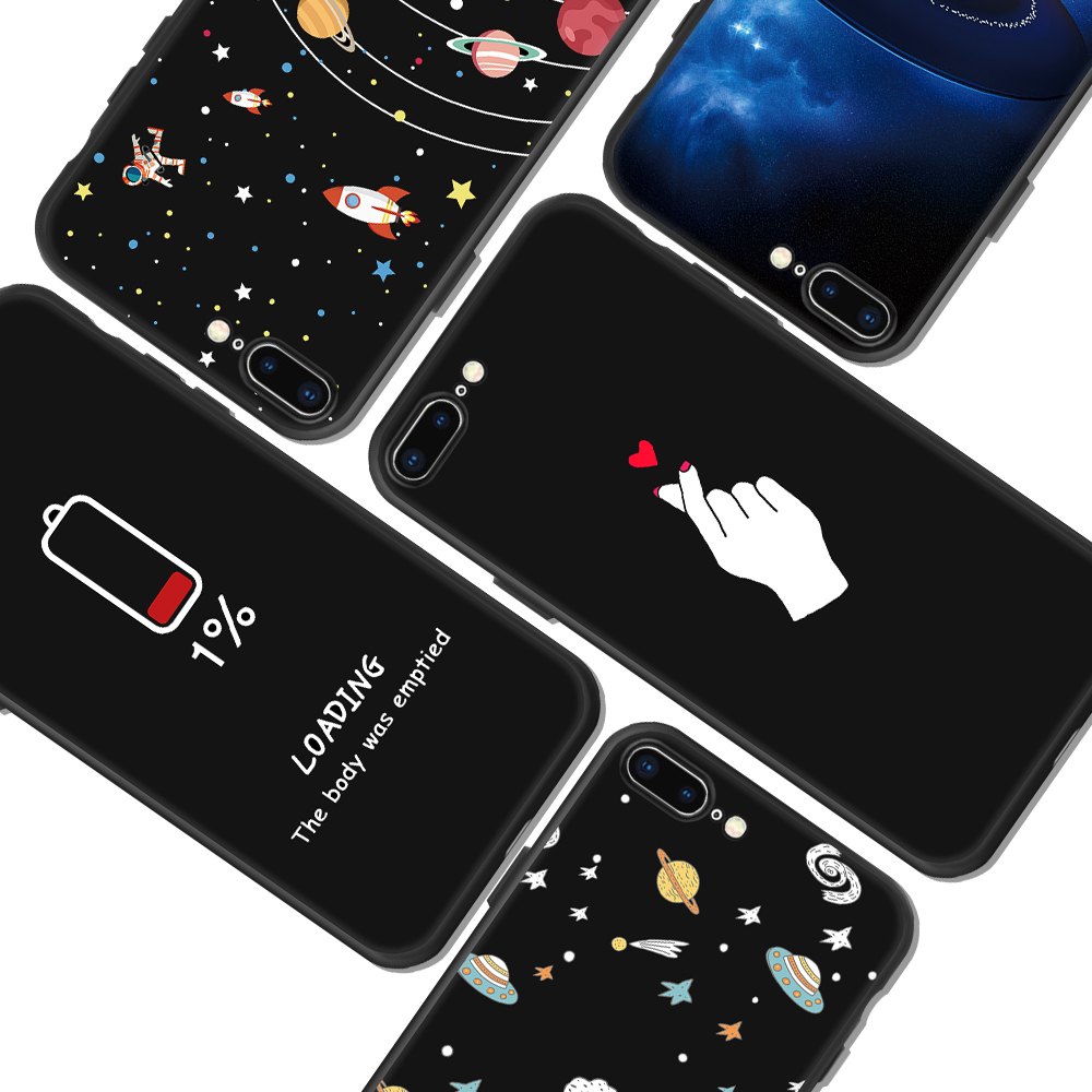 Fashion Space Phone Case For iPhone X 8 7 6 6S Plus 5 5S SE Planet Moon Star spider Silicone Case For iPhone X 8 7 6 6S 5 5S SE(China)