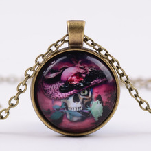 Steampunk Rose Skull Pendant Necklace Glass 1pcs/lot Time Synthetic Gemstone Pendant Necklace G99