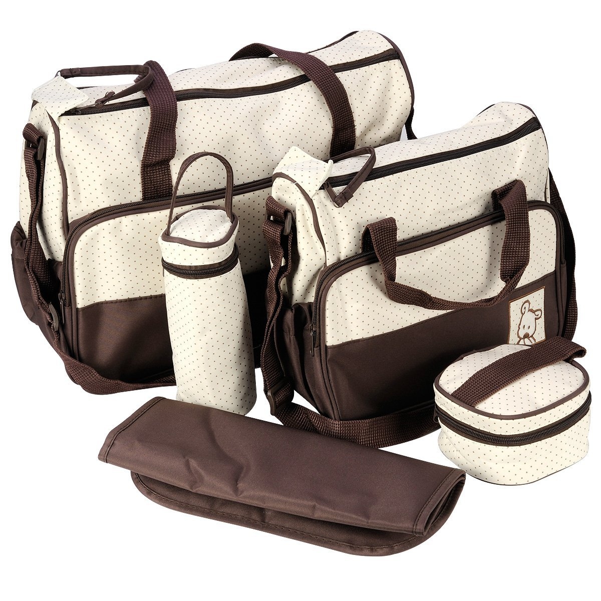 Best Sale 5 Pcs mother bag Baby Diaper Bag Stroller Maternity bag Nappy Bags Sets Suits For Mom Baby hangbag