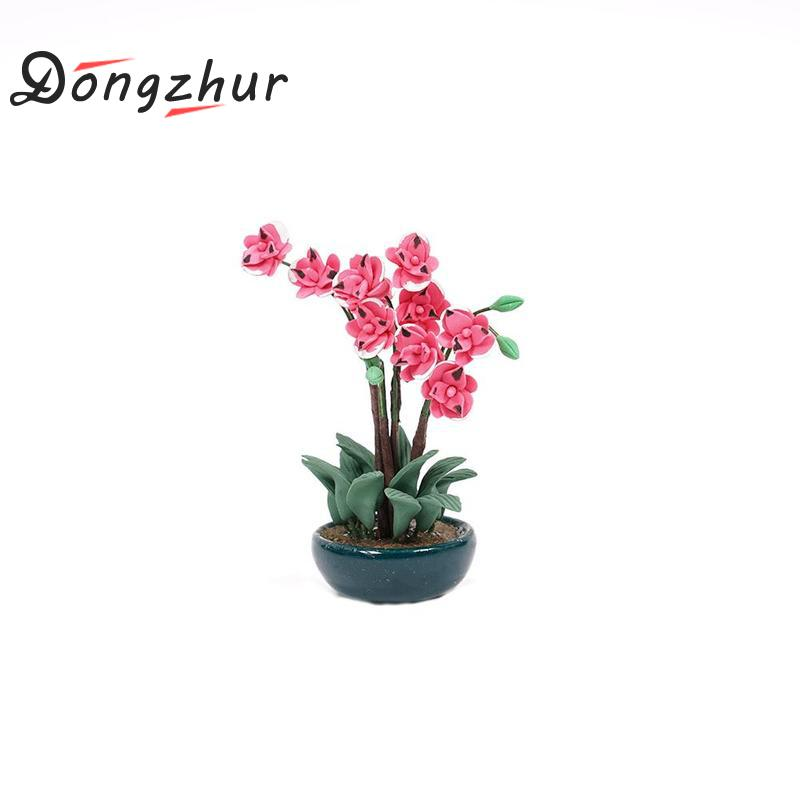 Pink Orchid White Clay Flower pot Dollhouse Miniature collection Home Decor Gift