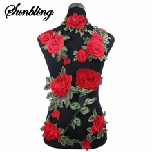 1pcs/lot Brand Patches Flowers Embroidered Patch Iron On Red Rose Fabric Repair Sew Badges Clothes Appliques DIY Wedding Sticker(China)