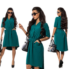 Women Sexy V-neck Short Sleeve Party A-line Dress Elegant Stretchy Midi Cocktail Swing Dress wear work office casual El vestido