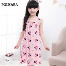 2-11Y Cotton Kids Girls Nightgowns Summer Robe Dress Cartoon Mouse Children Sleepwear Homewear Baby Nightwear Bathrobe Clothes