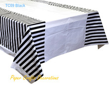 "108*180cm (70"" * 43"") Black Striped Plastic Tablecloths Table Cover Themed Birthday Party Decorations"