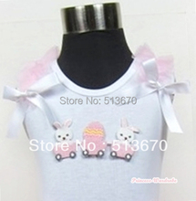 White Pettitop With Bunny Rabbit Egg Print with Light Pink Ruffles & White Bow MATB287