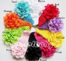 10 pcs girl Headwear Head Flower Hair Accessories wave Eyelet hole Mesh Fabric flower bow with crochet headband stretchy GZ7406