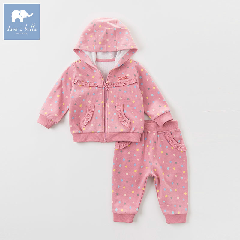 DBM6295 dave bella autumn infant baby girls fashion clothing sets children toddler outfits kids hooded Clothing Suits<br>