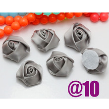 NEW 100pcs/Lot Silver Color Mini Flower Bud Satin Ribbon Rose Flower DIY Craft/Brooch/Doll/Dress/Wedding Appliques