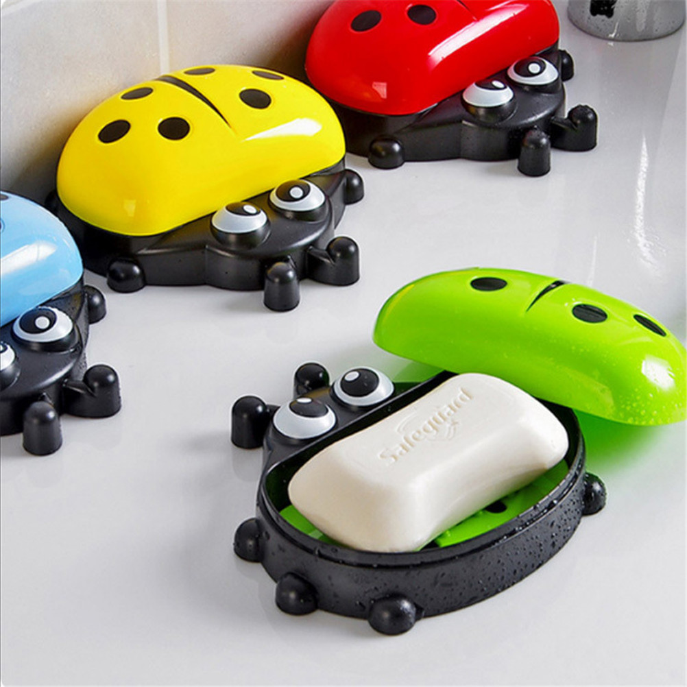 2018 Colorful Ladybug Soap Box Cute Cartoon Kids Bathroom Soap Holder with Cover Soap Case Travel Soap Dish Hot Sale