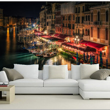 The custom 3D murals,Venice Canal Night Street lights Cities wallpapers , living room sofa TV wall bedroom wall paper