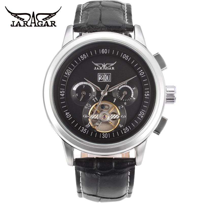 Jargar  Automatic silver color men wristwatch tourbillon black leather strap free shipping JAG16557M3S1<br>