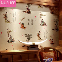 0.53x10m Chinese ancient poem beautiful pattern  wallpaper living room teahouse bedroom  Chinese classical wallpaper