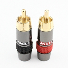 4pcs/lot DIY RCA Plug HIFI Goldplated Audio Cable RCA Male Audio Connector Gold Adapter For Cable(China)