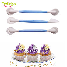 Delidge 3pcs/set Plastic Sugarcraft Wedding Cake Decorating Pen 6 Patterns Flower Modelling Tool Fondant Cake Decorating Tools(China)