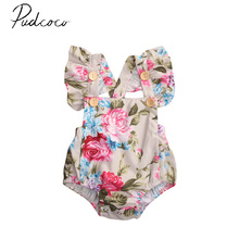 Pudcoco Sleeveslee Pullover Fashion Floral Hot Bulk Newborn Infant Baby Girls Gift Floral Sunsuit Romper Playsuit Clothes 3-18M(China)