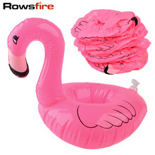 Rowsfire 12Pcs Mini Flamingo Pool Float Bottle Holder Inflatable Swiming Pool Accessories Drinking Cup Coke Cup Stand Beach Toy