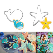 3D Stainless Steel Seabed Animals Whale/Starfish Cookie Cutter Pastry Fondant Cake Biscuit Mold Wedding Cake Decorating Tool(China)