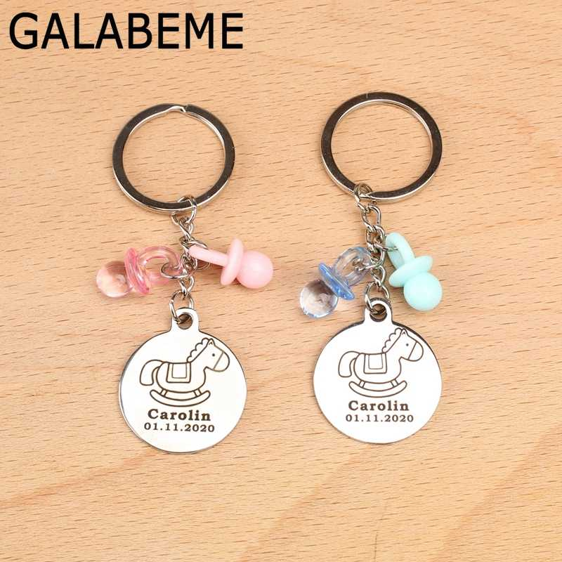 10pcs custom name date alloy Keychain with Nipple Engraved logo keychain baby shower souvenirs birthday party decorations kids